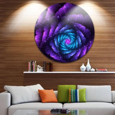 Designart Purple Fractal Flower in Dark Floral Circle Metal Wall Art