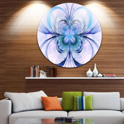 Designart Turquoise Fractal Flower Pattern FloralCircle Metal Wall Art