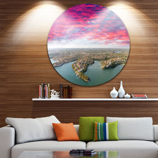 Designart Sydney Under Red Cloud Cityscape Photo Circle Metal Wall Art