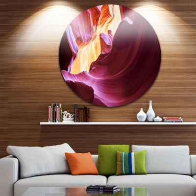 Designart Purple in Antelope Canyon Landscape Photography Circle Metal Wall Art