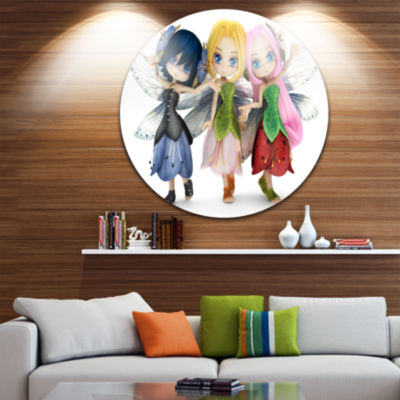 Designart Fairy Friends Posing Together Abstract Portrait Circle Metal Wall Art