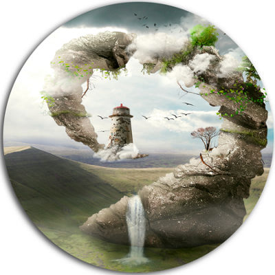 Designart Magical Bridge to Lighthouse Landscape Photo Circle Metal Wall Art