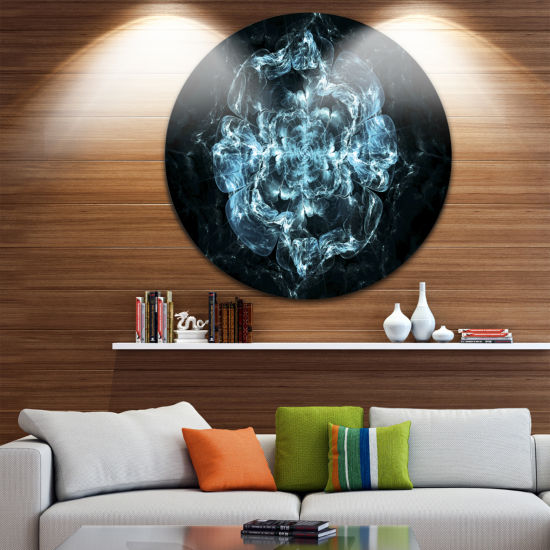 Designart Fractal Blue Flower Explosion Floral Circle Metal Wall Art