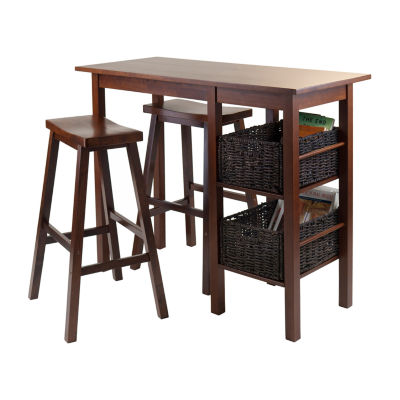 Winsome Egan 5pc Breakfast Table with 2 Baskets and 2 Saddle Seat Stools