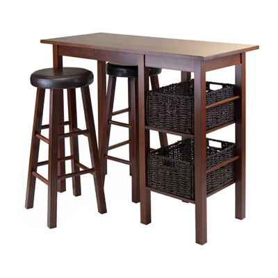 Winsome Egan 5pc Breakfast Table with 2 Baskets and 2 Swivel Seat PVC Stools