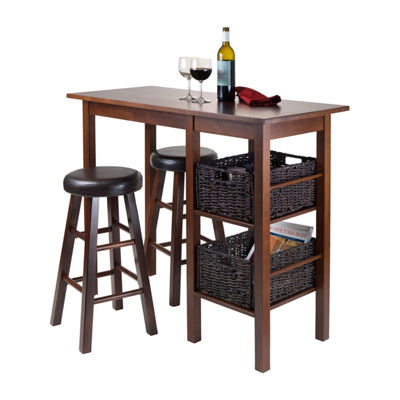 Winsome Egan 5pc Table with 2 Round Cushion Stools and 2 Baskets