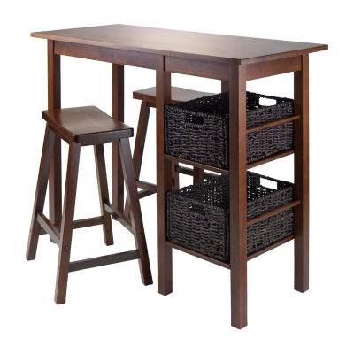 Winsome Egan 5pc Table with 2 Saddle Seat Stools and 2 Baskets