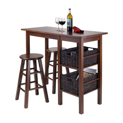 Winsome Egan 5pc Table with 2 Square Legs Stools and 2 Baskets