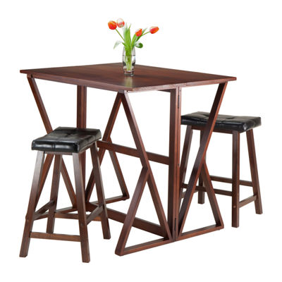 Winsome Harrington 3-Pc Drop Leaf High Table -  2 Cushion Saddle Seat Stools