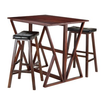 Winsome Harrington 3 Pc Drop Leaf High Table   2 Cushion Saddle Seat Stools