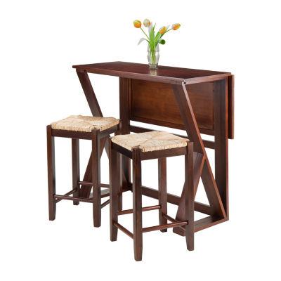 Winsome Harrington 3-Pc Drop Leaf High Table -  2-24 Rush Seat Stools