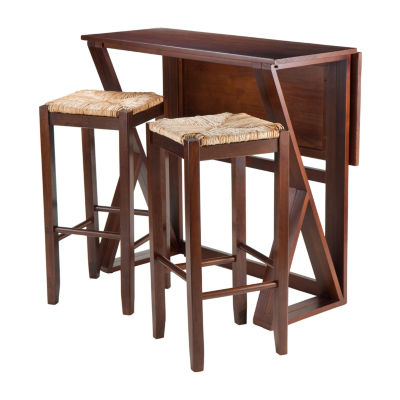 Winsome Harrington 3-Pc - Drop Leaf High Table and 2 Rush Seat Stools