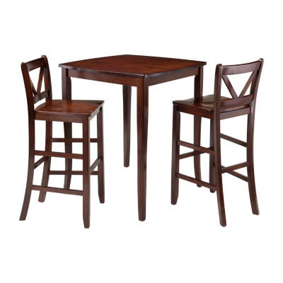 Winsome Inglewood 3-Pc High Table with 2 Bar V-Back Stools