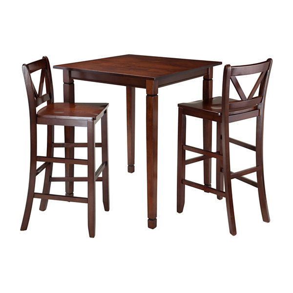 Winsome Kingsgate 3-Pc Dining Table with 2 Bar V-Back Chairs