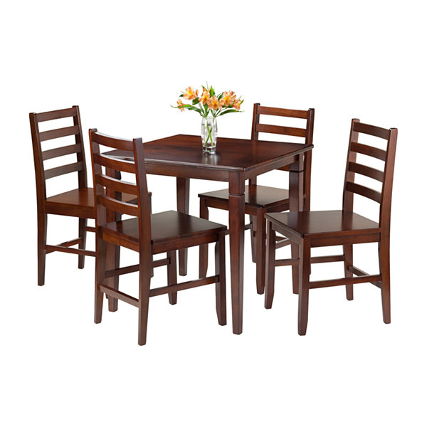 Winsome Kingsgate 5 Pc Dining Table With 4 Hamilton Ladder Back Chairs