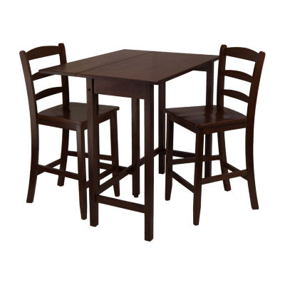 Winsome Lynnwood 3-Pc Drop Leaf High Table with 2 Counter Ladder Back StoolChair
