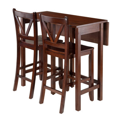 Winsome Lynnwood 3-Pc Drop Leaf Table with 2 Counter V-Back Stools