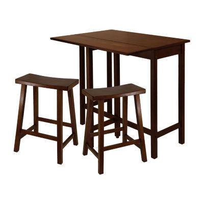 Winsome Lynnwood 3-Pc High Drop Leaf Table with 2 Saddle Seat Stool