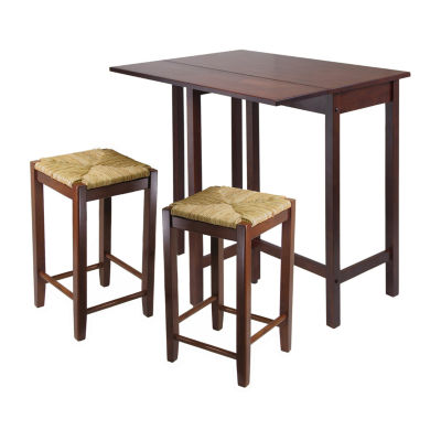 Winsome Lynwood 3-Pc Drop Leaf Table with 2 Rush Seat Stool