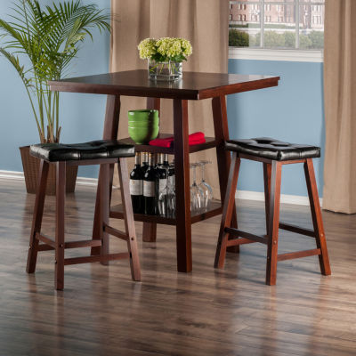 Winsome Orlando 3-Pc Set High Table -  2 Shelves w2 Cushion Seat Stools
