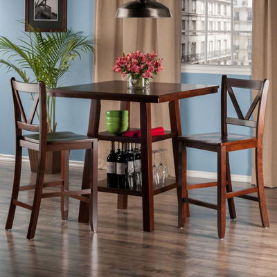 Winsome Orlando 3-Pc Set High Table -  2 Shelves w2 V-Back Counter Stools