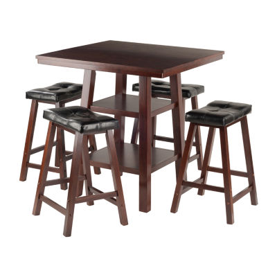 Winsome Orlando 3-Pc Set High Table -  2 Shelves w4 Cushion Seat Stools