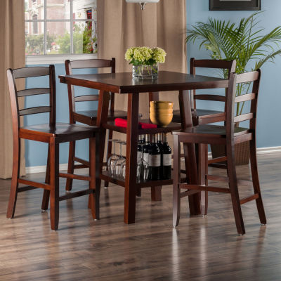 Winsome Orlando 5-Pc Set High Table -  2 Shelves with Ladder Back Stools