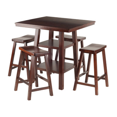 Winsome Orlando 5-Pc Set High Table -  2 Shelves with 4 Saddle Seat Stools
