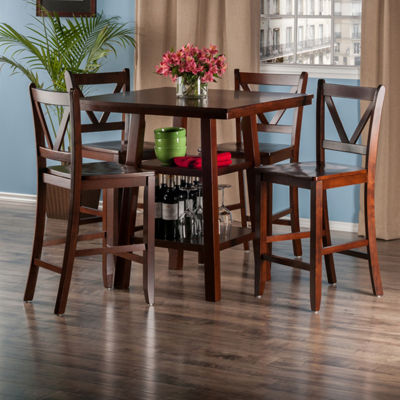 Winsome Orlando 5-Pc Set High Table -  2 Shelves with 4 V-Back Counter Stools
