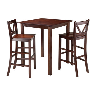 Winsome Parkland 3-Pc High Table with 2 Bar V-Back Stools