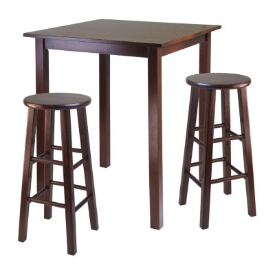 Winsome Parkland 3-Pc High Table with 2 Square Leg Stools