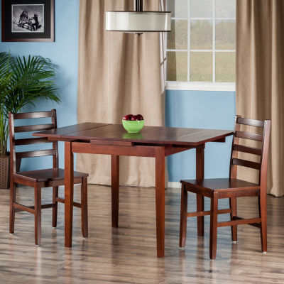 Winsome Pulman 3-Pc Set Extension Table with 2 Ladder Back Chairs
