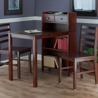 Winsome Tyler 3-Pc Set Table -  Storage Shelf with Ladder Back Chairs