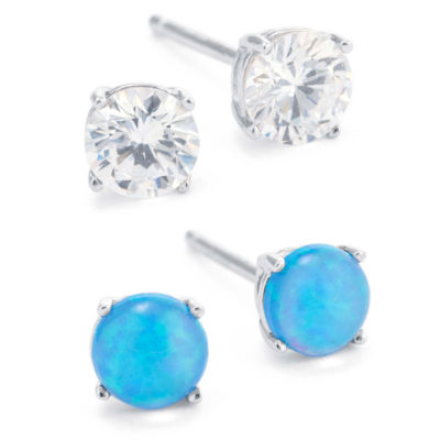 Silver Treasures Silver Treasures 2 Pair Sterling Silver Round Earring Sets