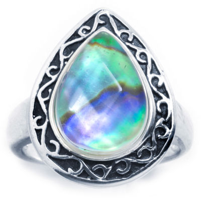 Sparkle Allure Sparkle Allure Womens Multi Color Pure Silver Over Brass Pear Cocktail Ring