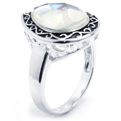 Sparkle Allure Womens Multi Color Pure Silver Over Brass Pear Cocktail Ring