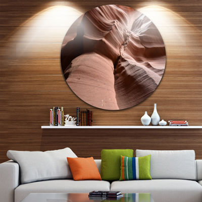 Designart Dark Upper Antelope Canyon Landscape Photography Circle Metal Wall Art