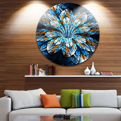 Designart Turquoise Fractal Flower in Dark FloralCircle Metal Wall Art