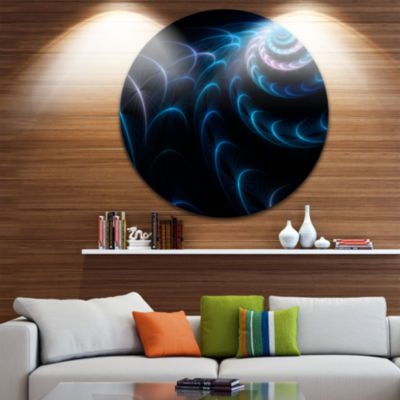 Designart Blue Fractal Flower in Dark Large FloralCircle Metal Wall Art