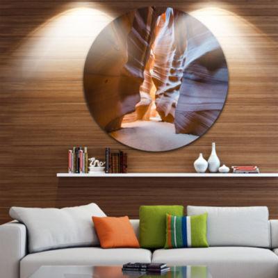 Designart Antelope Canyon Glow Inside Landscape Photography Circle Metal Wall Art