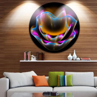 Designart Colorful Fractal Flower in Dark Floral Circle Metal Wall Art