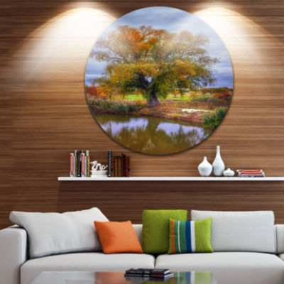 Designart Willow Near Pond Landscape Photography Circle Metal Wall Art