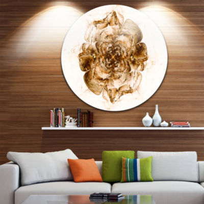 Designart Brown Fractal Flower in White Floral Circle Metal Wall Art