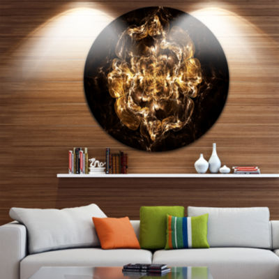 Designart Fractal Yellow Flower Explosion Floral Circle Metal Wall Art