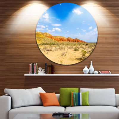 Designart Rocky Mountain in Desert Landscape PhotoCircle Metal Wall Art