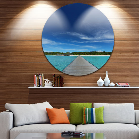 Designart Infinite Sea Pier Seascape Photography Circle Metal Wall Art