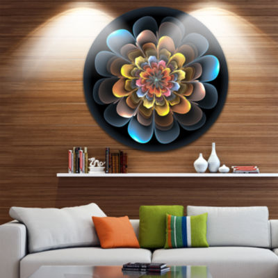 Designart Fractal Flower Macro Close up Floral Circle Metal Wall Art