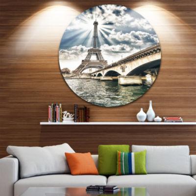 Designart Paris Eiffel Towerand Iena Bridge Cityscape Photo Circle Metal Wall Art