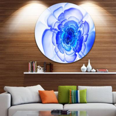 Designart Large Blue Fractal Flower Petals FloralCircle Metal Wall Art