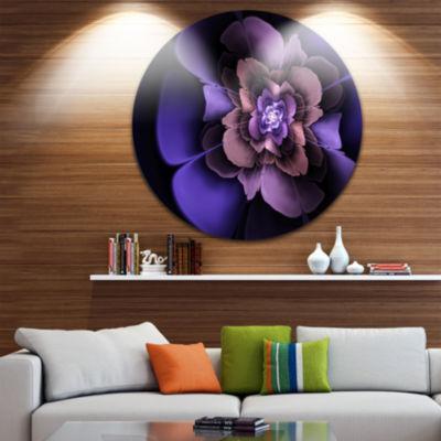 Designart Blue Fractal Flower in Dark Floral Circle Metal Wall Art